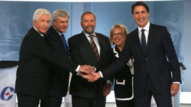 Bloc Quebecois Leader Gilles Duceppe, left to right, Conservative Leader Stephen Harper, New Democratic Party Leader Thomas Mulcair, Green Party Leader Elizabeth May and Liberal Leader Justin Trudeau shake hands at the French-language leaders' debate in September. They face-off at the polls Monday.