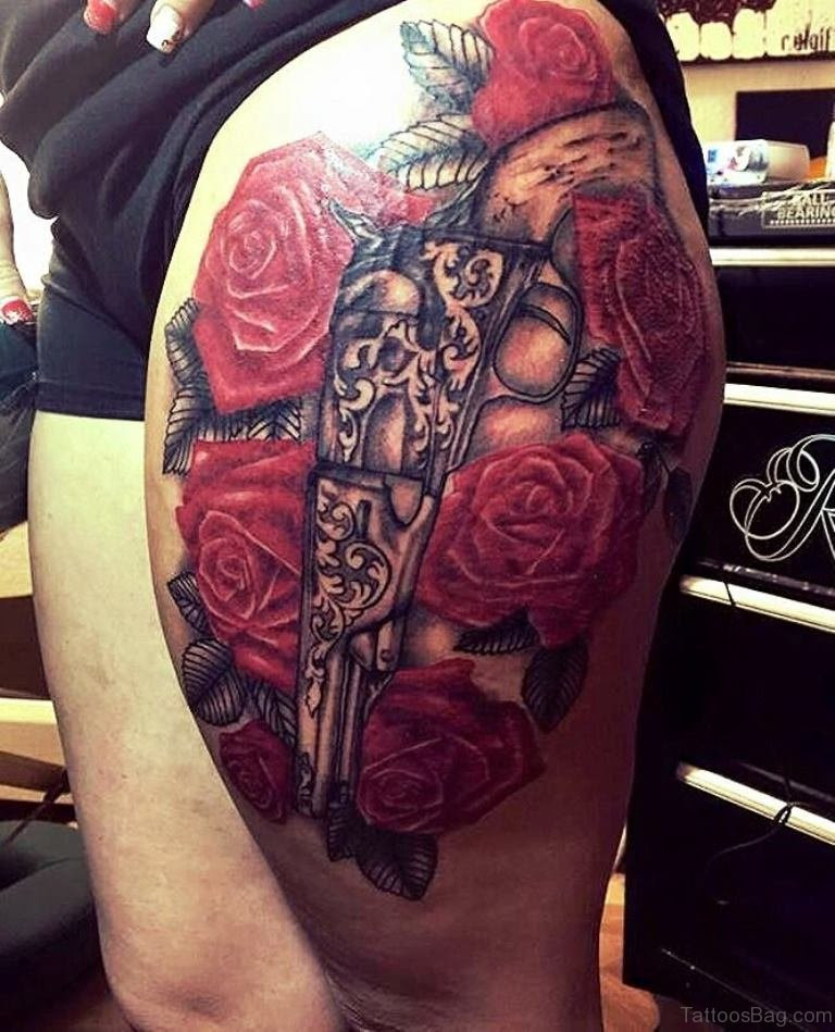72 Brilliant Gun Tattoos Design On Thigh