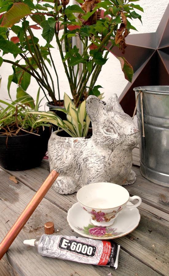 diy çay fincanı birdfeeder için gerekli malzemeler