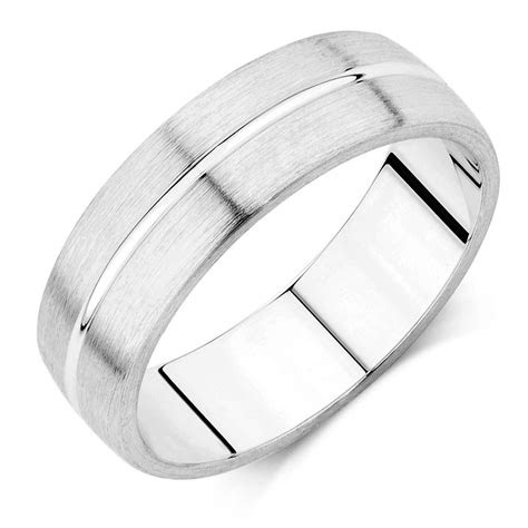 mens wedding band  kt white gold