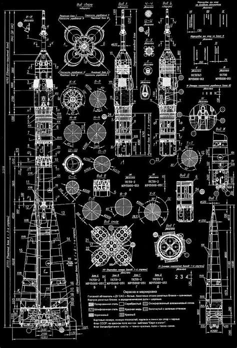 Blueprint of a Russian Soyuz rocket. | Space, astronomy