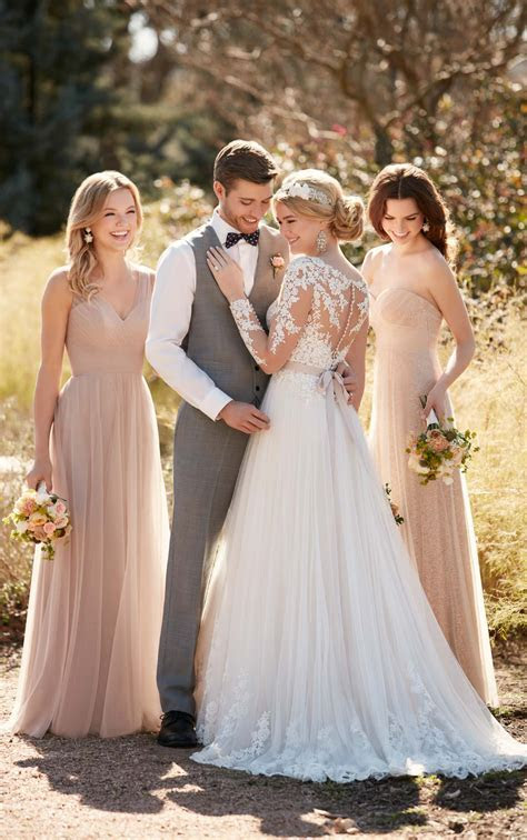 Illusion Lace Wedding Dress with Tulle Skirt   Essense of