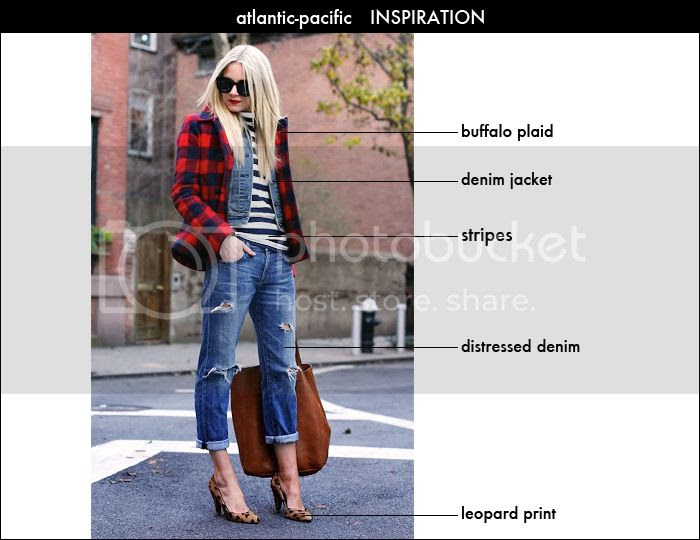 buffalo plaid, leopard print, how to mix prints, how to wear distressed denim
