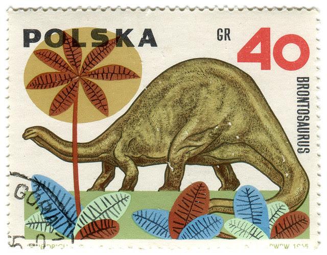 Poland postage stamp: brontosaurus