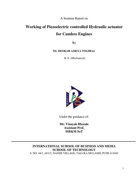 (PDF) Working of Piezoelectric Controlled Hydraulic