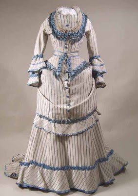 1871-1873 Dress: white silk with satin trim, English
