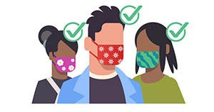 People wearing a mask correctly with green check marks by their heads