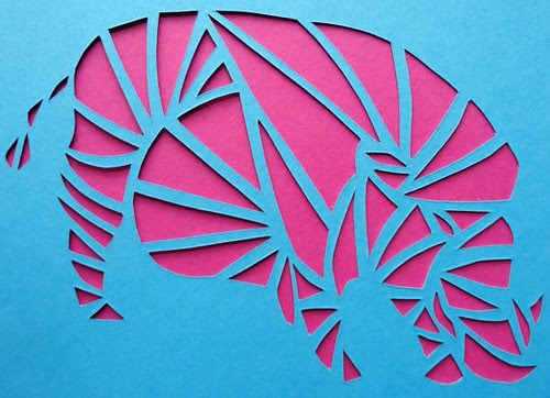 papercut wild boar card