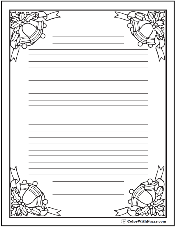 Coloring Pages: Christmas Bells Writing Paper