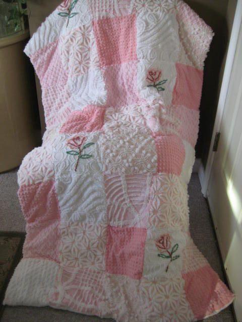 Vintage Quilt Patchwork Chenille
