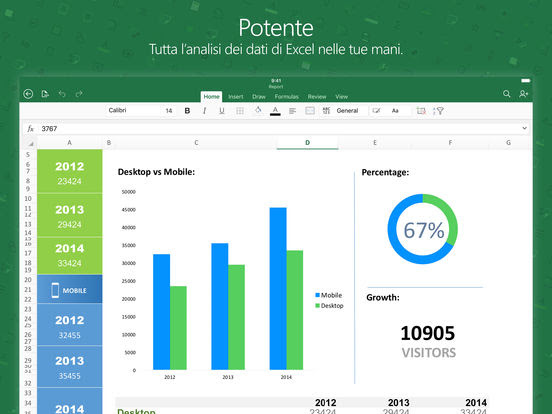 Microsoft Excel gratis per iPad, iPhone e iPod Touch vers 2.12