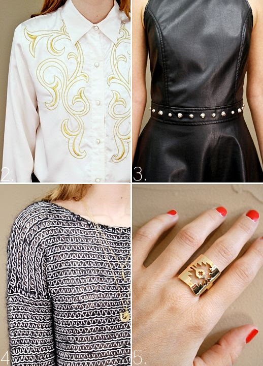 LE FASHION BLOG SHOPCUFFS VINTAGE EMBROIDERED WESTERN SHIRT LEATHER STUDDED DRESS CROPPED KNIT SWEATER AZTEC CUT OUT DETAIL GOLD RING