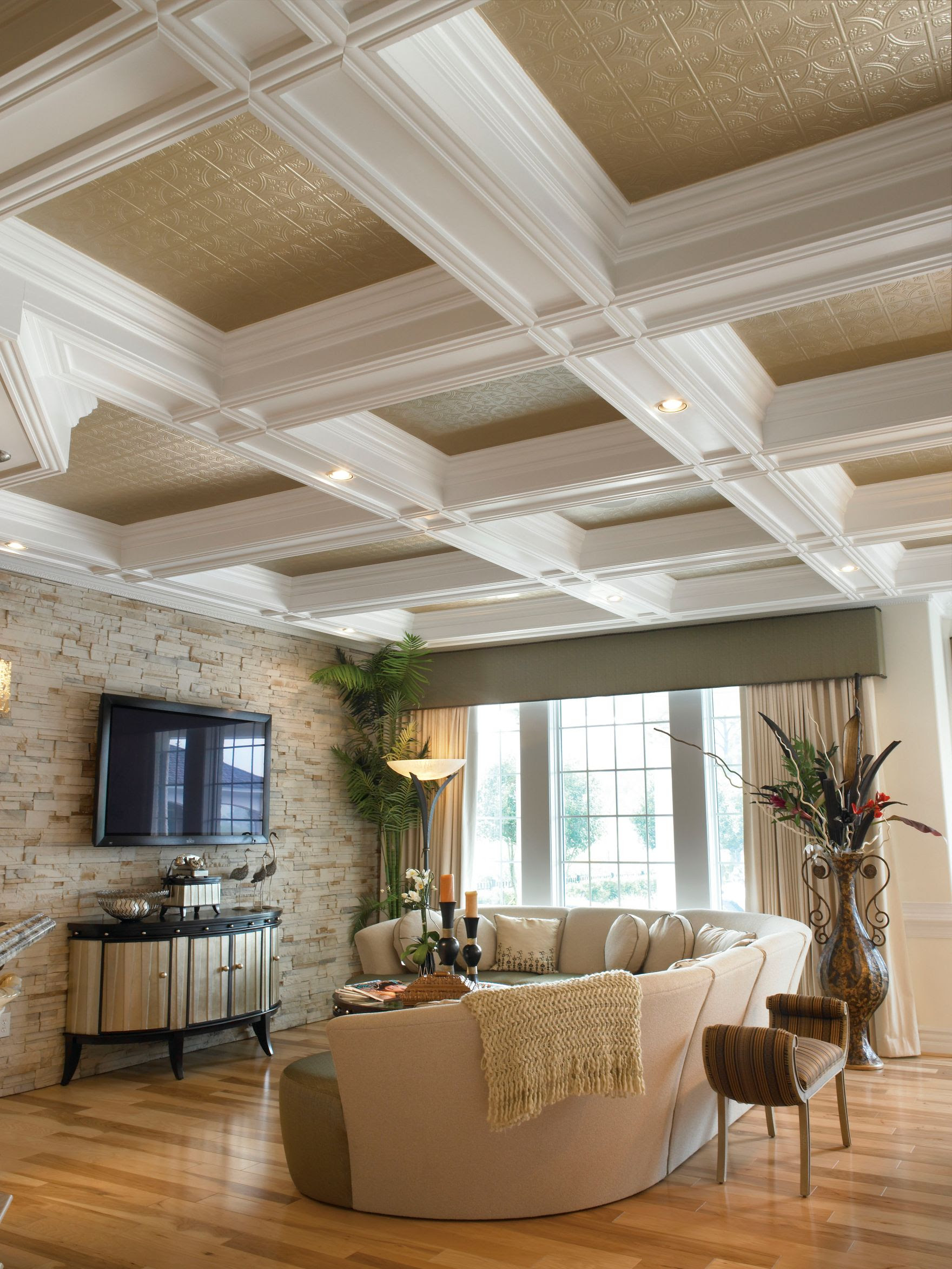 ceiling tile on coffered ceiling