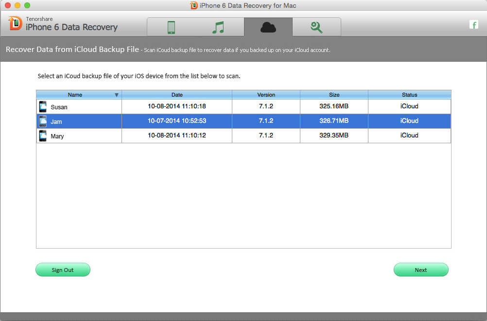 Screenshots of iPhone 6 Data Recovery for Mac