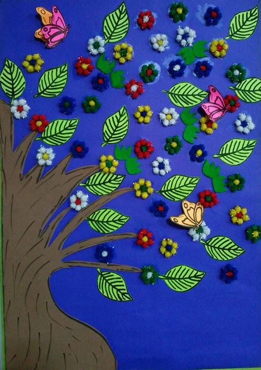 Kağıt Bardaktan Tavuk Figürlü Marakas Ponponlardan Ilkbahar Ağacı