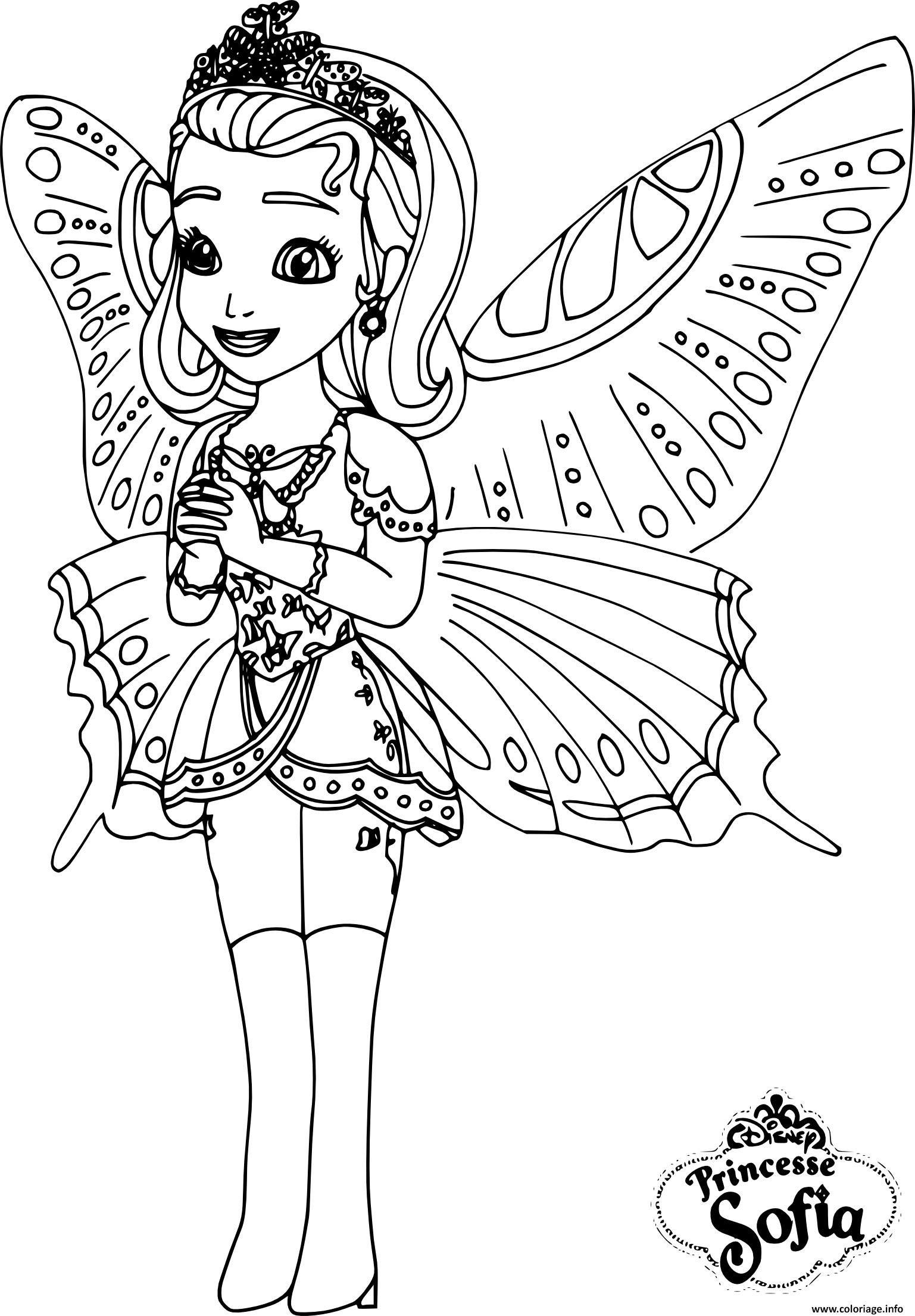 Coloriage Princesse Sofia Papillon Dessin  Imprimer