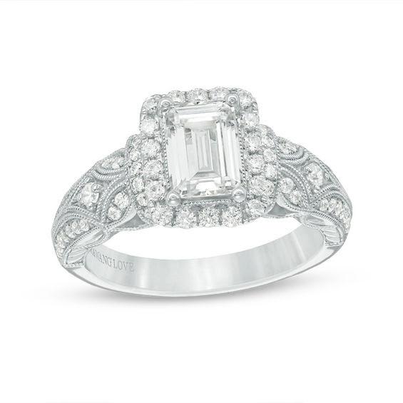Vera Wang Love Collection 145 Ct Tw Emerald Cut Diamond Frame