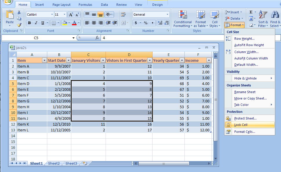 excel lock a cell