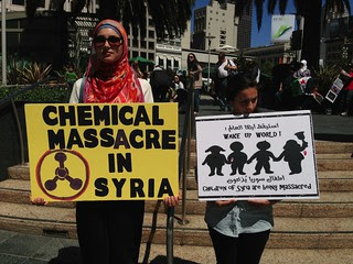 Chemical massacre in #Syria Syrian American Council protest for #Syriawar in Union Square