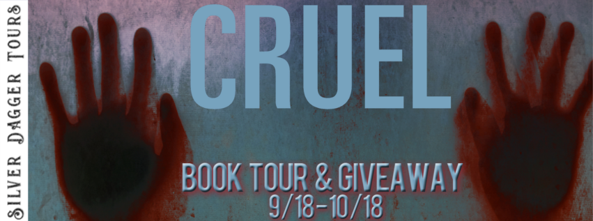 Book Tour Banner for suspense thriller Cruel from the Morris Brick thriller series by Jacob Stone with a Book Tour Giveaway