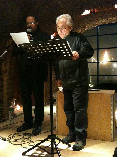 Me reading with Giovanni Miraglia, my translator