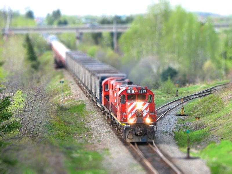 Tilt shift version of NBEC 1819 outside Bathurst