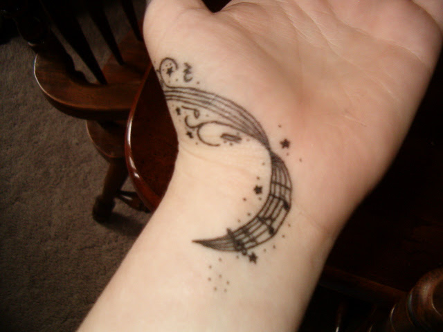 Music Notes Clef And Flower Tattoo Designs In 2017 Real Photo