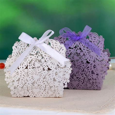 Butterfly & Flower Laser Cut Paper Wedding Favor Candy Box