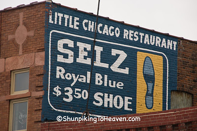 Restored Selz Royal Blue Shoe Sign, Benton County, Iowa