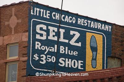 Restored Selz Royal Blue Shoe Sign, Benton County, Iowa