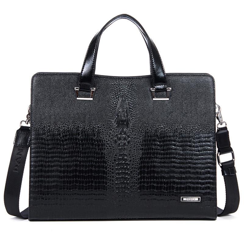スタイリッシュなクロコダイル柄レザービジネスブラックバッグ