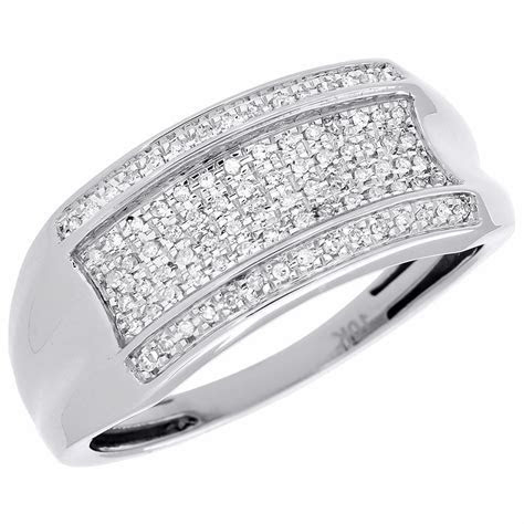 Pave Diamond Wedding Band Mens 10K White Gold Round Cut