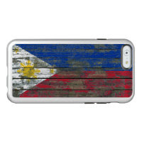 Filipino Flag on Rough Wood Boards Effect Incipio Feather® Shine iPhone 6 Case