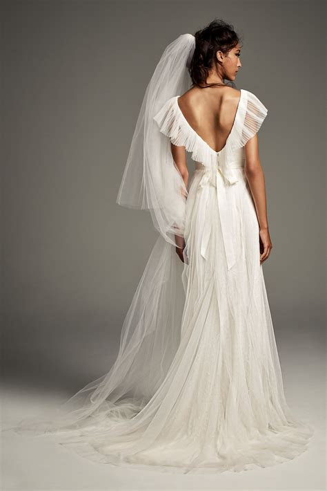 pleated tulle flutter  sheath wedding dress vw