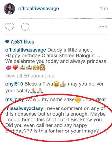 Tee Billz?s Babymama Calls Tiwa Savage Fake For Placing