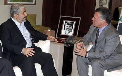 עבדאללה ומשעל, השבוע בעמאן (צילום: EPA)