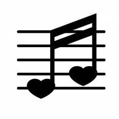 ハートの音符シルエット イラストの無料ダウンロードサイト