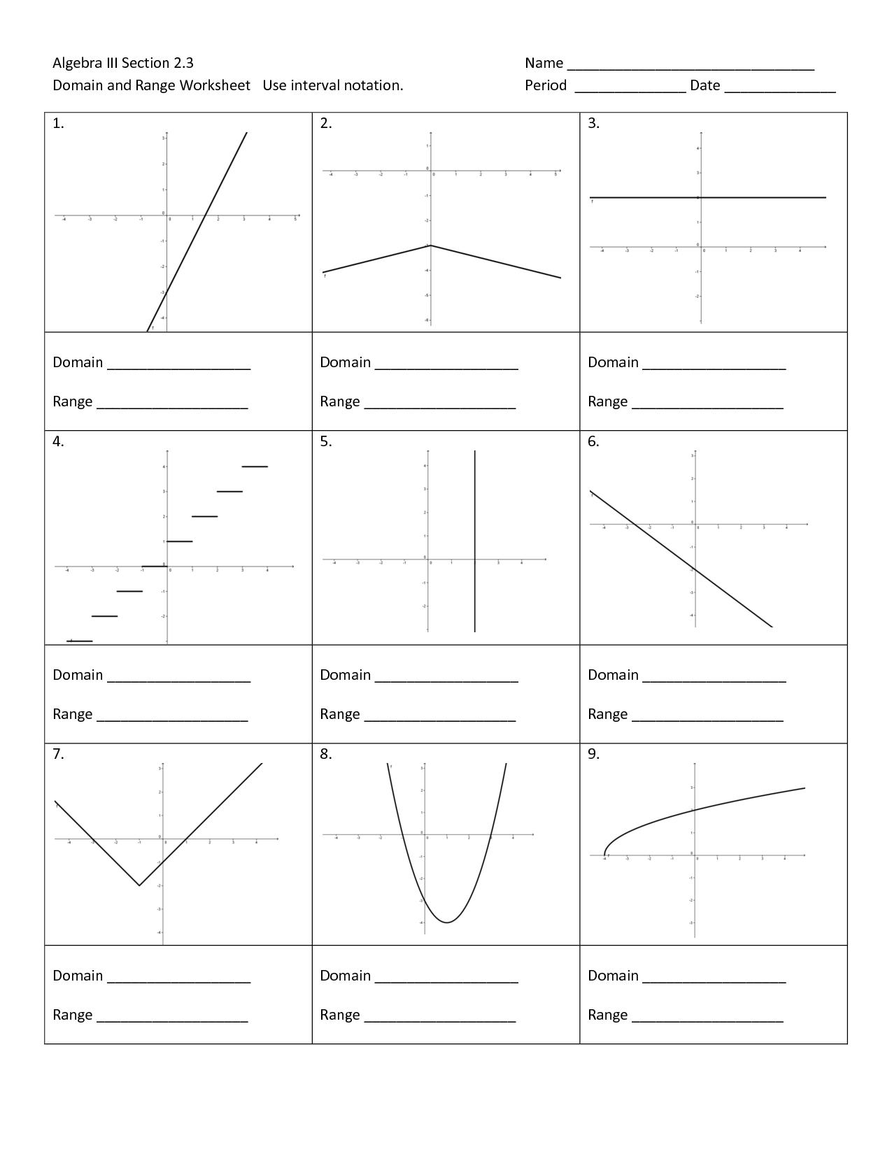 Algebra 1 Worksheets Domain and Range Worksheets ...