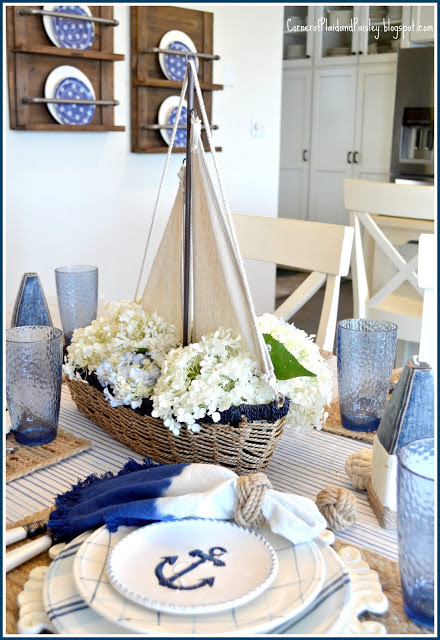Nautical Tablescape | Corner of Plaid and Paisley