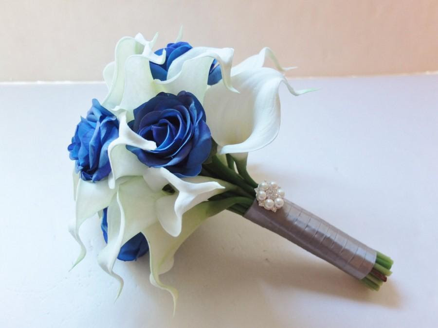 Bridesmaid Bouquets White Calla Lily And Royal Blue Roses