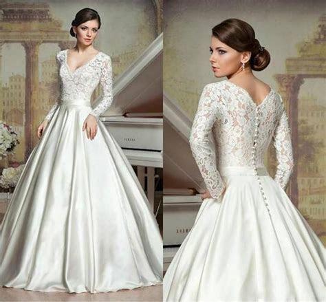 Long Sleeve A Line Wedding Dresses Deep V Neck Chapel