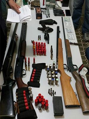 Seis armas e 185 munições foram apreendidas (Foto: Elma Pereira)
