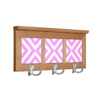 Pink and White Chevrons Coat Rack