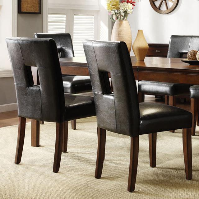 Mendoza Cherry Finish Black Keyhole Back Dining Chairs (Set of 2