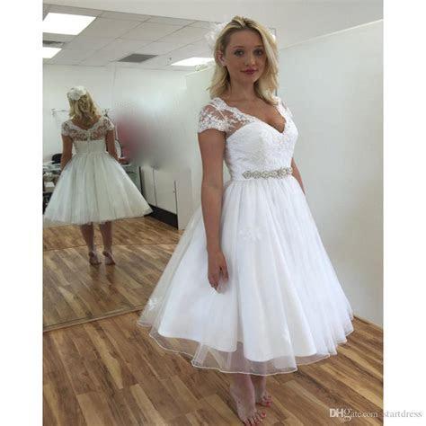 Discount Sexy White Lace Tea Length Wedding Dress Cap