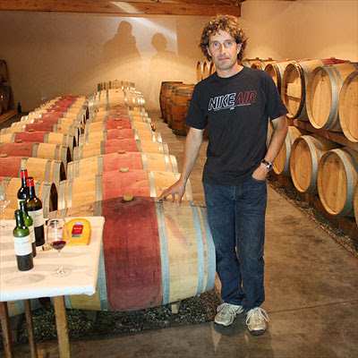 Michel Théron in the new cellar of Clos du Jaugueyron