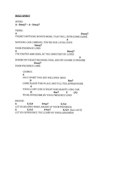 Holy Spirit Jesus Culture Lyrics And Chords