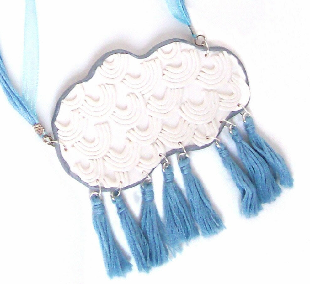 polymer clay necklace - Every Silver Lining Has a Cloud - The Pessimist necklace - cloud-shaped inside-out bib necklace with tassles - HunkiiDorii