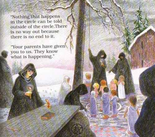 """Esta vinheta assustador retrata uma criança nua dentro meio de um """"círculo mágico"""", onde um ritual satânico está prestes a ocorrer.  O professor diz sobre o círculo """"Não há nenhuma maneira para fora, porque não há fim para isso"""", que é o tipo de mente coisas malditos manipuladores dizer para confundir e controlar os escravos."""