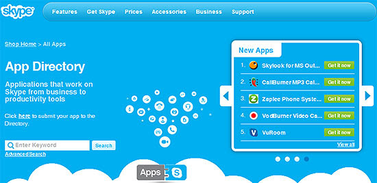 Página de aplicativos para Skype